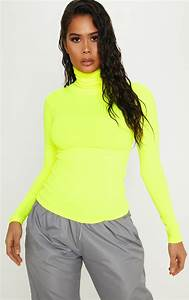 Phone Number By Address Neon Yellow Rib High Neck Top Tops Prettylittlething