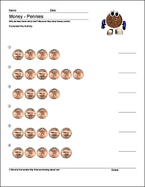 free math worksheets for counting pennies