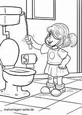 Coloring Hygiene Personal Toilet Colorear Go Toilette Ir Dibujo Malvorlage Higiene Gehen Going sketch template