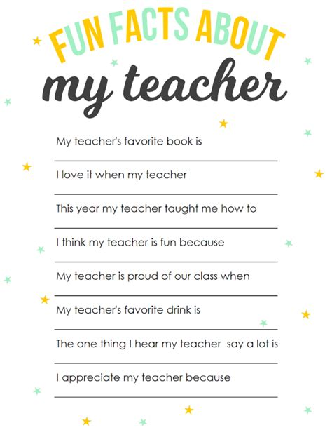 appreciation printable facts about my 289   Fun Facts About My Teacher blog size