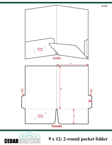 pocket folder template how to plan a 9 x 12 two rounded pocket folder