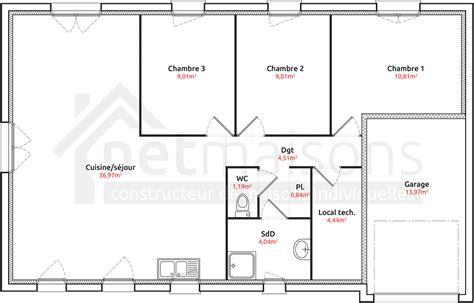 plan maison plain pied 2 chambres garage affordable affordable plan maison plain pied athna u