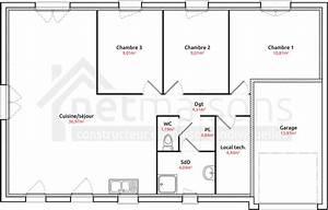 maison plain pied 4 chambres maison moderne With plan de maison plain pied gratuit 3 chambres sans garage