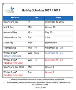 2017 2018 Holiday Schedule