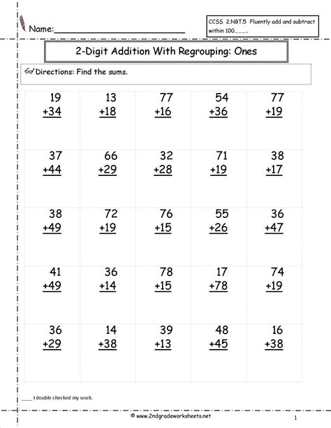 2nd grade math worksheet 2 digit addition free math worksheets and printouts