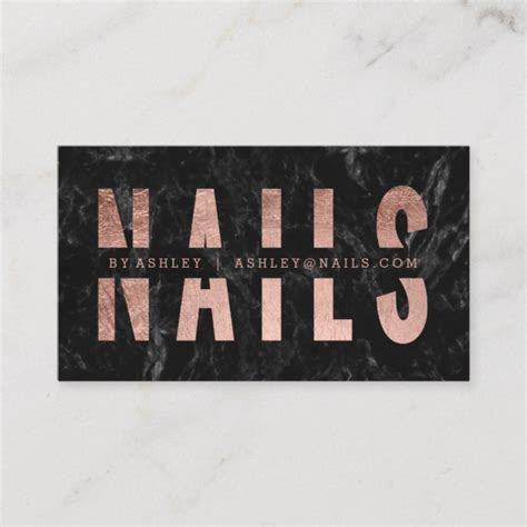 nails cut  rose gold typography black marble business