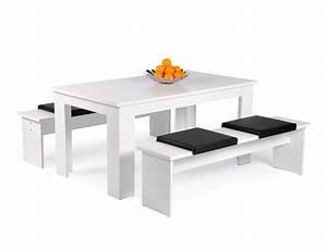 Tischgruppe Mit Bank Und Stühlen : tischgruppe hamburg esstisch 140x80 cm 2x bank wei 4x kissen schwarz wohnbereiche esszimmer ~ Bigdaddyawards.com Haus und Dekorationen