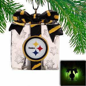 Pittsburgh Steelers LED Holiday Gift Box Ornament