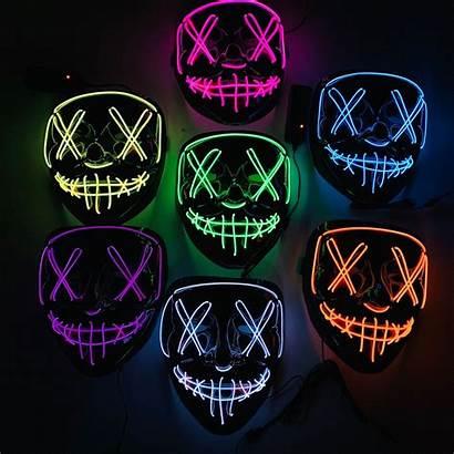 Mask Halloween Masks Led Neon Glow Horror