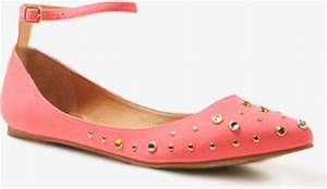 Forever 21 Rhinestone Ankle Strap Flats in Pink neon pink