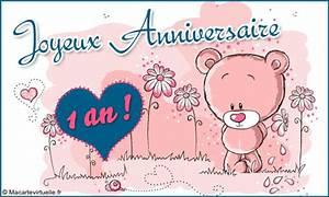 1 An Anniversaire : envoyez une e card joyeux anniversaire 1 an ~ Farleysfitness.com Idées de Décoration