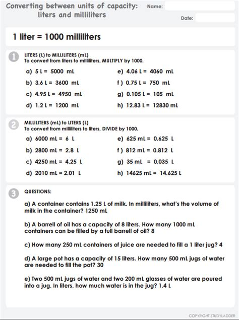 converting between units of volume milliliters and liters answers mathematics skills