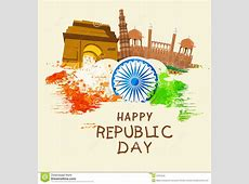 Indian Republic Day Celebration With Famous Monuments And