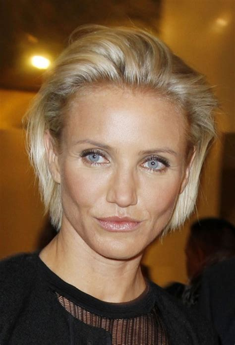 cameron diaz simple combed  bob hairstyle hairstyles