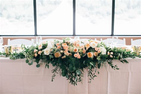 calgary wedding flowers  foot long head table