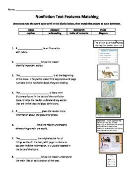 Nonfiction Non Fiction Text Features Matching Worksheet