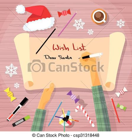 Merry Christmas Wish List To Santa Clause Child Hand Writing Eps Vector  Search Clip Art