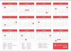 2018 Calendar Canada printable yearly calendar