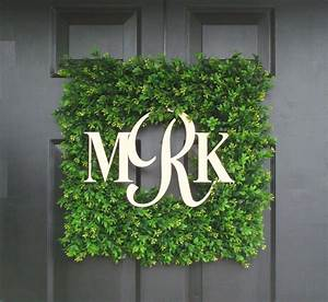 monogram boxwood wreath wedding gift custom monogram wreath With boxwood letters