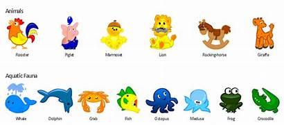 Animals Aquatic Funny Fauna Elements Cartoon Example