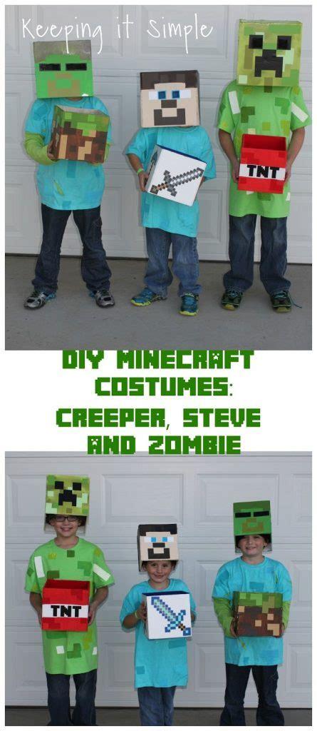 diy minecraft costumes creeper steve  zombie costume