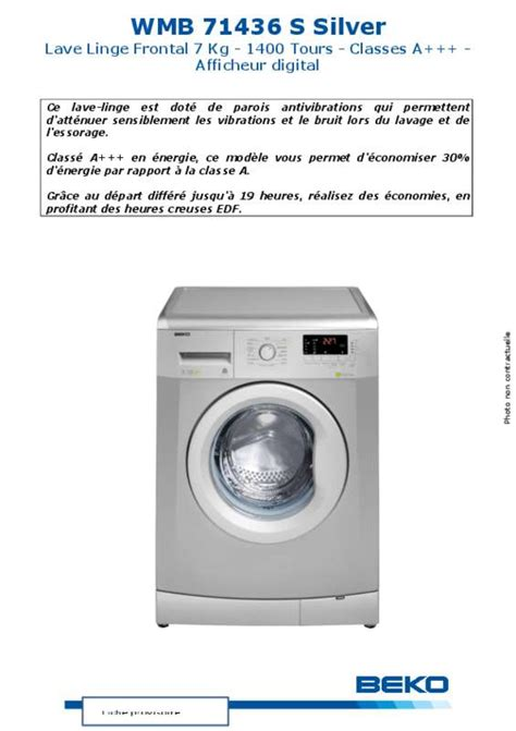 mode d emploi lave linge beko