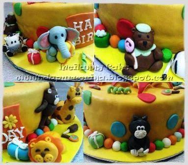 kue ulang  anak cute tiger party animal