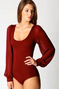 boohoo womens ladies allie chiffon long sleeve bodysuit