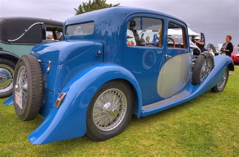 Only 27 built and this might be the only one left in the world.engine is an inline 8 cylinder 3.3l. 1934 Bugatti Type 57 Galibier Pillarless Sedan   10th Annual…   Flickr