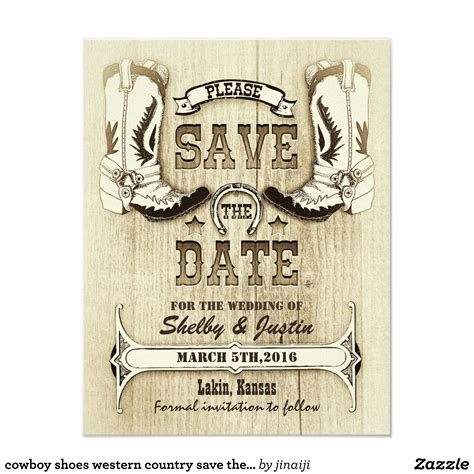 cowboy shoes western country save  date zazzlecom