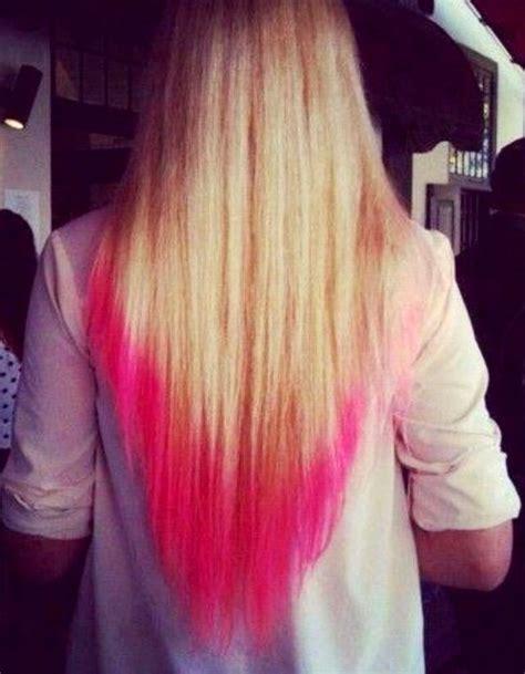 long blonde hair dip dyed  pink pink tips hair