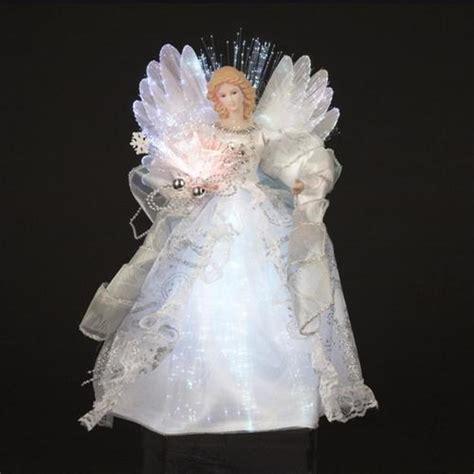 shimmering white  silver led light fiber optic angel