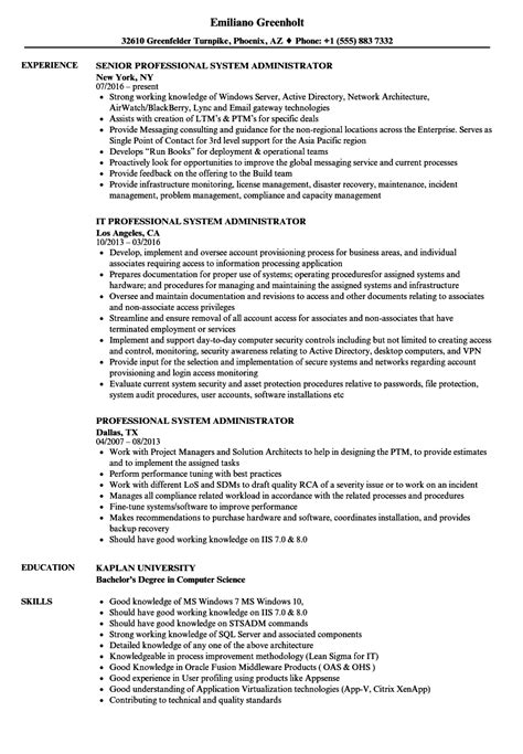 Systems Administrator Resume by Professional System Administrator Resume Sles Velvet