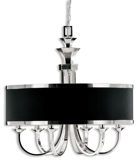 tuxedo 6 light black shade chandelier traditional