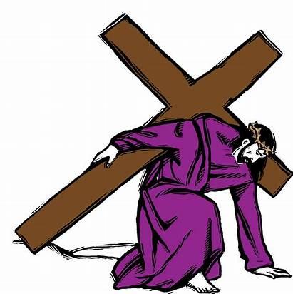 Clipart Spotlight Jesus Cross Carrying Clip Cartoon