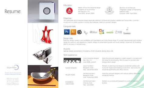 Best Industrial Design Resume by Industrial Design By Shyam Balasubramanian At Coroflot