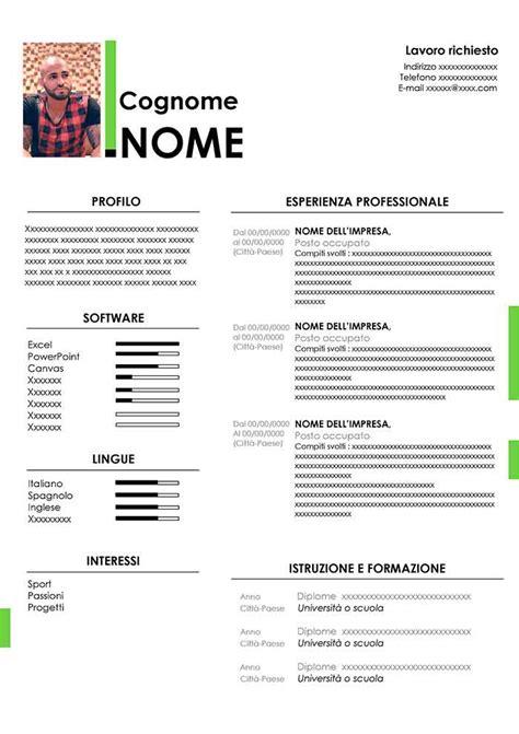 Cv Word by Curriculum Vitae Con Foto Da Compilare Gratis Modello Cv
