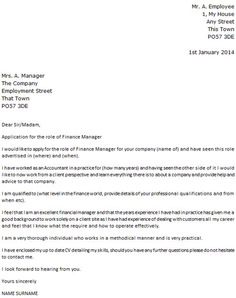 finance manager cover letter exle icover org uk