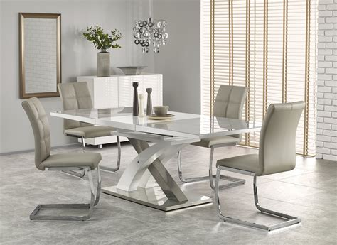 buy harmony high gloss white grey glass extendable dining