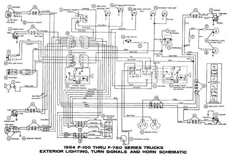 1966 Ford F100 Horn Diagram by Ford F 100 Through F 750 Trucks 1964 Exterior Lighting
