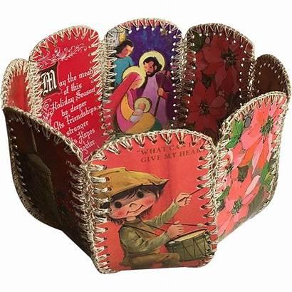Christmas Card Basket Handmade