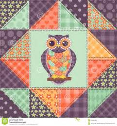 patchwork design seamless patchwork owl pattern 1 royalty free stock photos image 35209408