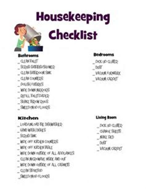 Bedroom Makeover Checklist by Housekeeping Checklist Sop Spa Cleaning Checklist
