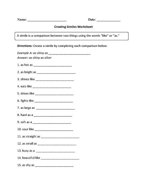 19 Best Images Of Metaphor Worksheet High School  Simile Metaphor Worksheets Middle School