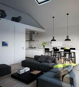 Salon Canapé Gris : cuisine ouverte sur salon un bel espace ouvert ~ Preciouscoupons.com Idées de Décoration