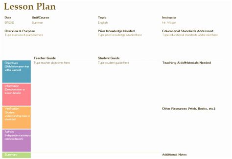 7 weekly lesson plan template excel eoowu templatesz234