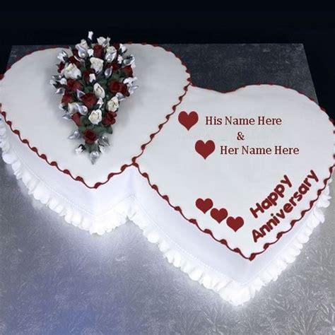 heart shape anniversary cake wishes image