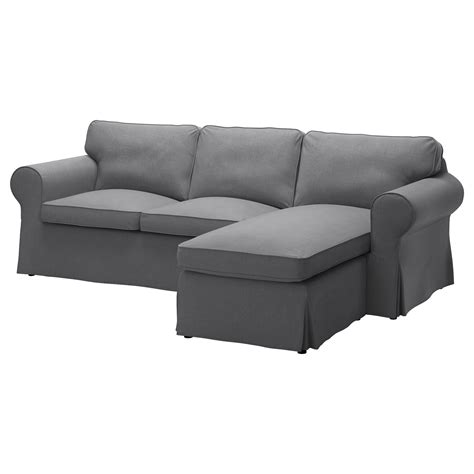 canapé chaise longue ektorp two seat sofa and chaise longue nordvalla grey