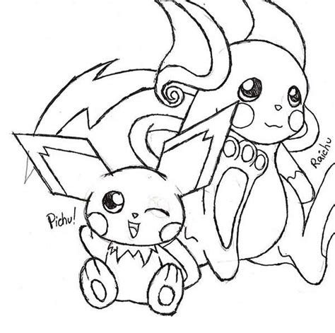 Kleurplaat Raichu by Raichu And Pichu Coloring Page Color
