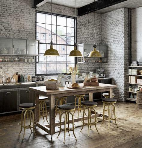 cuisine avec bar table cuisine industrielle en 3d